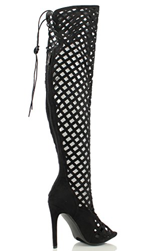 Cape Robbin Women's Elnora Peep Toe Laser Cutout Over The Knee Thigh High Back Lace Tie Boot