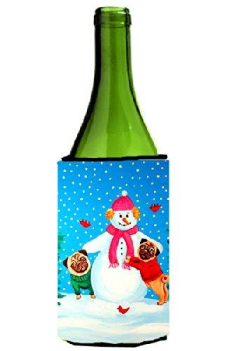 Snowman Bottle Hugger - Snowman with Pug Winter Snowman Wine Bottle Beverage Insulator Beverage Insulator Hugger