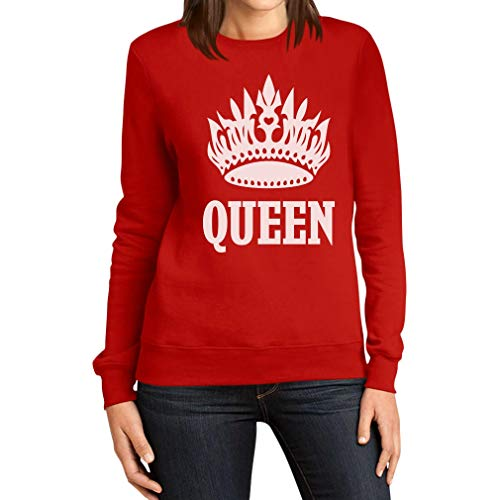 E Bianca Shirtgeil Queen Stampa Corona Donna Con Felpa Rosso Scritta Da wqqXCrE
