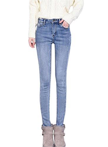 Donna Pantaloni Tapered chiaro Pants Vita Jeans Alta DaBag Caldo Pantalone Blu Inverno Addensare in Denim Ragazzi Stretti g5wnqCU