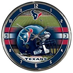 Houston Texans Round Chrome Wall Clock