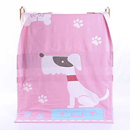 PENG Kids Bath/Beach/Pool Towel Girls Boys Cute Cartoon Animal Full Vitality,100% Cotton(Puppy pink)
