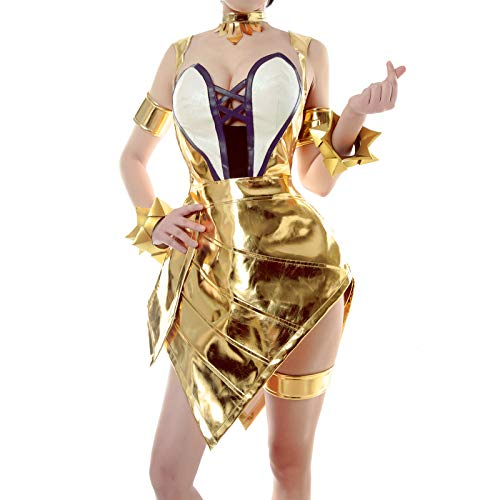 sandybeibei Ahri Prestige Edition Cosplay Costume Group KDA LOL Sexy Dress Women Leather Cosplay Suit Gold]()
