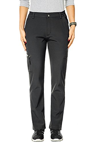 Lined Pants Womens (Nonwe Women's Fleece Lined Warm Ski Pants Hiking Snow Pants Deep Gray 30W x 30.5L)