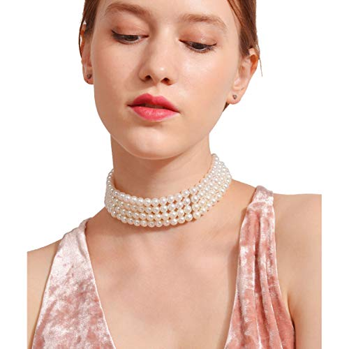 LuckyHouse Multi Strands Necklaces Faux Pearl Beads Choker Necklace for ()