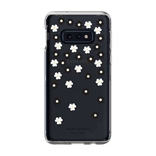 - Kate Spade New York Phone Case | for Samsung Galaxy S10E | Protective Clear Crystal Hardshell Phone Cases with Slim Floral Design and Drop Protection - Scattered Flowers Black/White/Gems