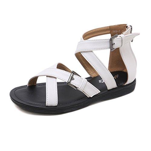 White Casual Planas Abierto Mujer Moda La De Sandalias Verano Zapato zHP5vwpq