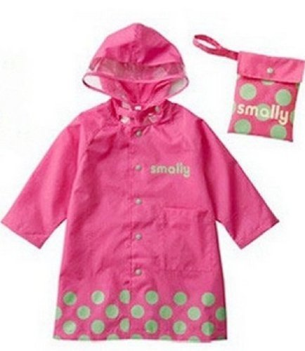 SKL Unisex Kid's Fashion Waterproof Cartoon Raincoat for boy or girl,4 sizes,3 colors (XL, Pink)