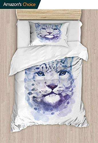(Animal King Duvet Cover Set, Big Wild Cats Themed Print Watercolor Style Leopard Illustration Jungle Wildlife, Bedding Sets,1 Duvet Cover,1 Pillowcase,71 W x 79 L Inches, Violet White)