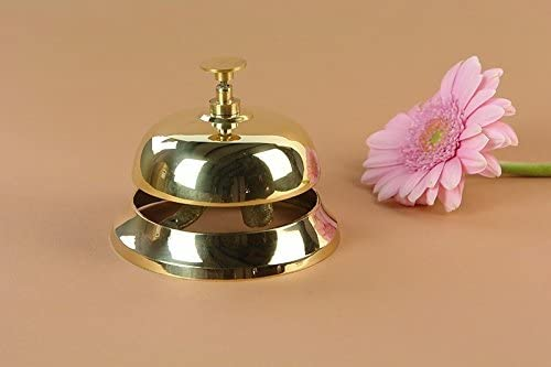 Antike Fundgrube Tischklingel Tischglocke Hotelklingel Rezeptionsglocke in Gold | Klingel Glocke | D: 10 cm (194)