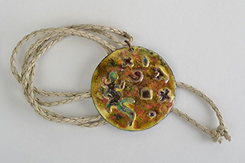 Handmade Round Copper Pendant Necklace With Colorful Enamel Painting On Cord