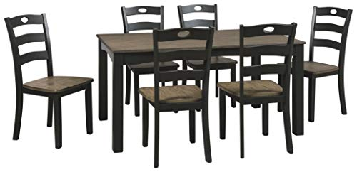 Signature Design by Ashley D338-425 Froshburg Dining Room Table and Chairs (Set of 7), Grayish Brown/Black ()