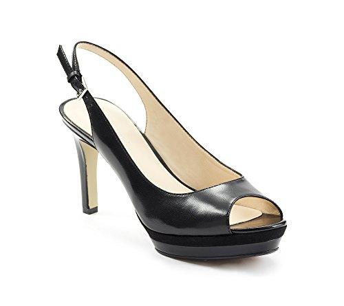Nine West Women's Able LT Dress Pump,Black/Black Leather,7.5 M US (Slingback Women Pump Platform Heel)