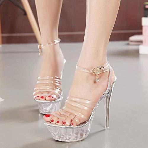 Heel Crystal Sandals Fashion Club Shoes 14Cm Walking SFSYDDY Shoes transparent Night Dance High Sexy 0Yqx08SU