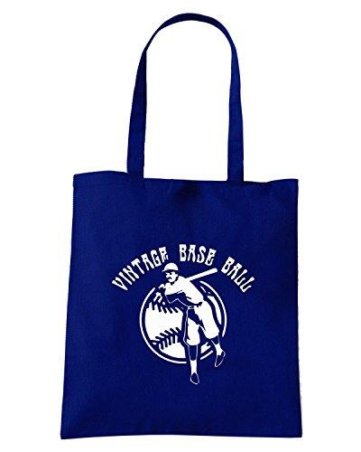 T-Shirtshock - Bolsa para la compra SP0019 Baseball Vintage Maglietta Azul Marino