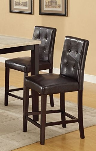 Set of 2 Bar Stools Espresso Faux Leather Parson Counter Height Chairs (1)