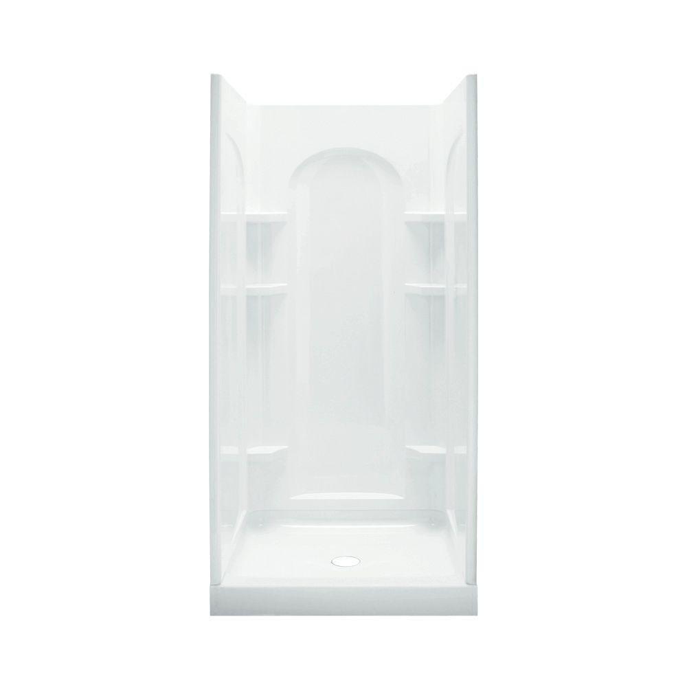 good Sterling Plumbing 72210100-0 Ensemble Shower Kit, 42-Inch x 34-Inch x 75.75-Inch, White