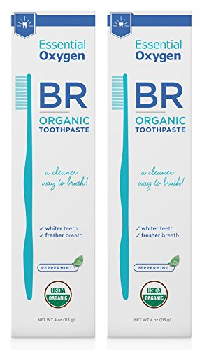 Essential Oxygen Certified Organic Toothpaste Peppermint Teeth Whitening, Stops Bad Breath, Gum Health, Tooth Sensitivity. Vegan, Fluoride Free, Charcoal Free, Gluten Free, No Animal Testing, 2 Pack