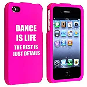 Apple iPhone 4 4S Hot Pink Rubber Hard Case Snap on 2 piece Dance is Life