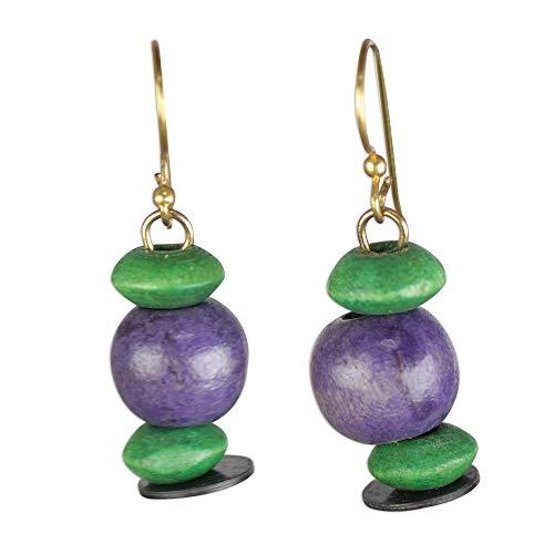 NOVICA Brass and Wood Dangle Earrings, Grape Vineyard'