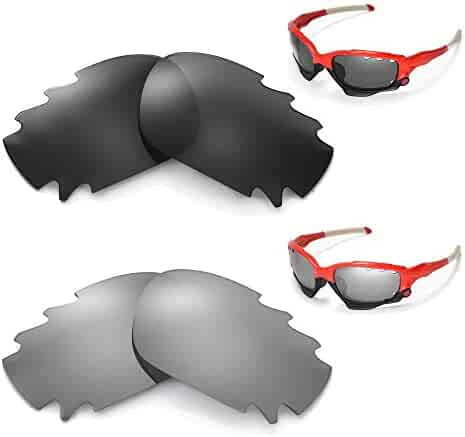 593bfebf87 New Walleva Polarized Black + Titanium Vented Lenses for Oakley Racing  Jacket