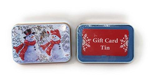 Lindy Bowman Christmas Holiday Gift Card Tin Box, 2-Pack (Mr. & Mrs. Snowman)