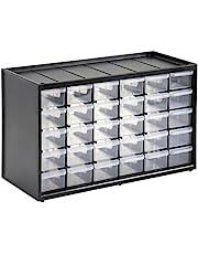 Stanley 1-93-980 opbergdoos voor kleine onderdelen (36,5 x 15,5 x 22,5 cm, met 30 laden, onbreekbaar kunststof frame, transparante schuifladen, geschikt voor wandmontage)