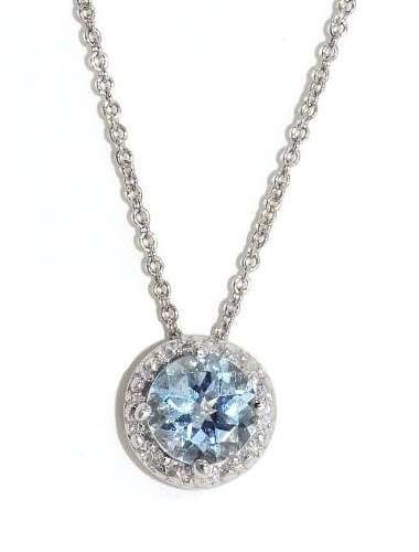 14Kt White Gold Genuine Aquamarine & Diamond Round Pendant