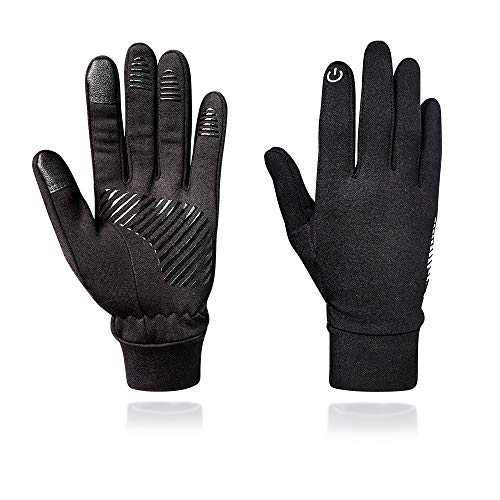 WOWARM Winter Warm Gloves, Touchscreen Gloves Men Women, Cold Weather Windproof Phone Gloves, Lightweight Running Black Gloves Non-Slip Silicone Gloves for Cycling Driving