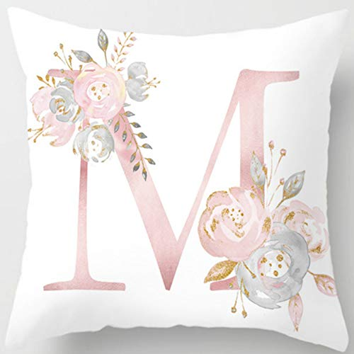 Eanpet Throw Pillow Covers Alphabet Decorative Pillow Cases ABC Letter Flowers Cushion Covers 18 x 18 Inch Square Pillow Protectors for Sofa Couch Bedroom Car Chair Home Decor - Inch Pillow 18 Square Accent