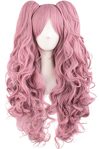 "MapofBeauty 28""/70cm Lolita Long Curly Clip on Ponytails Cosplay Wig (Rouge Pink)"