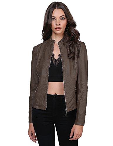 Leather Zippered Jacket (Awesome21 Basic Moto Rider Faux Leather Zippered Jacket Coffee Size XS)