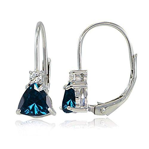 Sterling Silver London Blue Topaz & White Topaz Trillion-Cut Leverback Drop Earrings