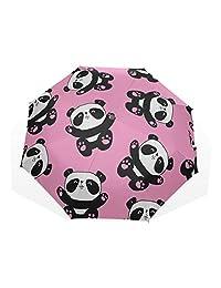 Parasol de playa plegable Panda linda Ilustración Vector Panda Baby Seamles 3 paraguas de arte plegables (impresión exterior) Paraguas compacto para niños Niña Paraguas de lluvia Paraguas de lluvia S