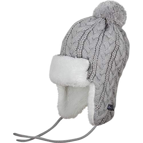 Ami&Li Infant Baby Boys Girls Kids Ultra Comfortable Knit Winter Trapper Hat with Cute Fuzzy Ball Gray