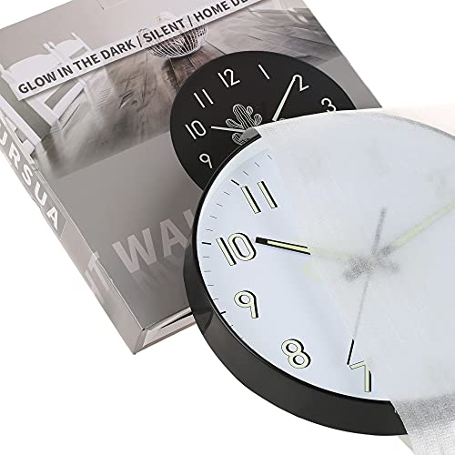 Night Light Wall Clock with Glass Cover,12 Inch Silent Non Ticking Quartz Clocks for Bedroom Living Room Kitchen,Large Luminous Numbers,Glow in The Dark