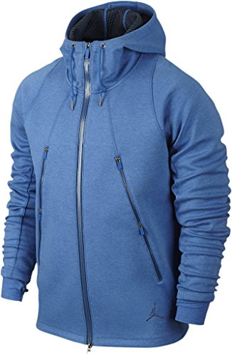 Nike mens AIR JORDAN FLEECE HOODY 688990-456_M - LT GAME RYL HTR/INSIGNIA (Jordan Fleece Hoody)