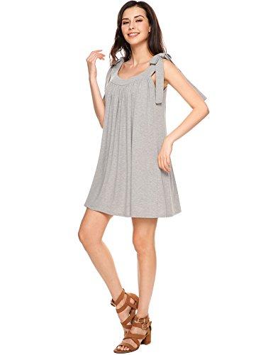 Beyove Sans Manches Col Rond Cravate Auto Robe Tunique Casual Jersey Gris Solide De Mini-robe Des Femmes