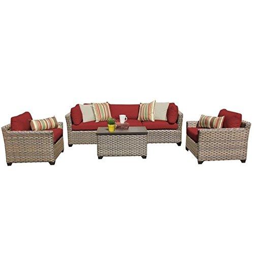TK Classics 6 Piece Monterey Outdoor Wicker Patio Furniture Set, Terracotta 06b
