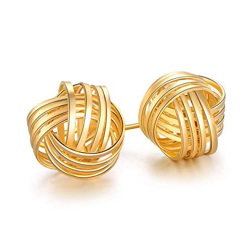 Barzel 18K Gold Plated Gold 4 Row Love Knot Stud Earrings (Gold)