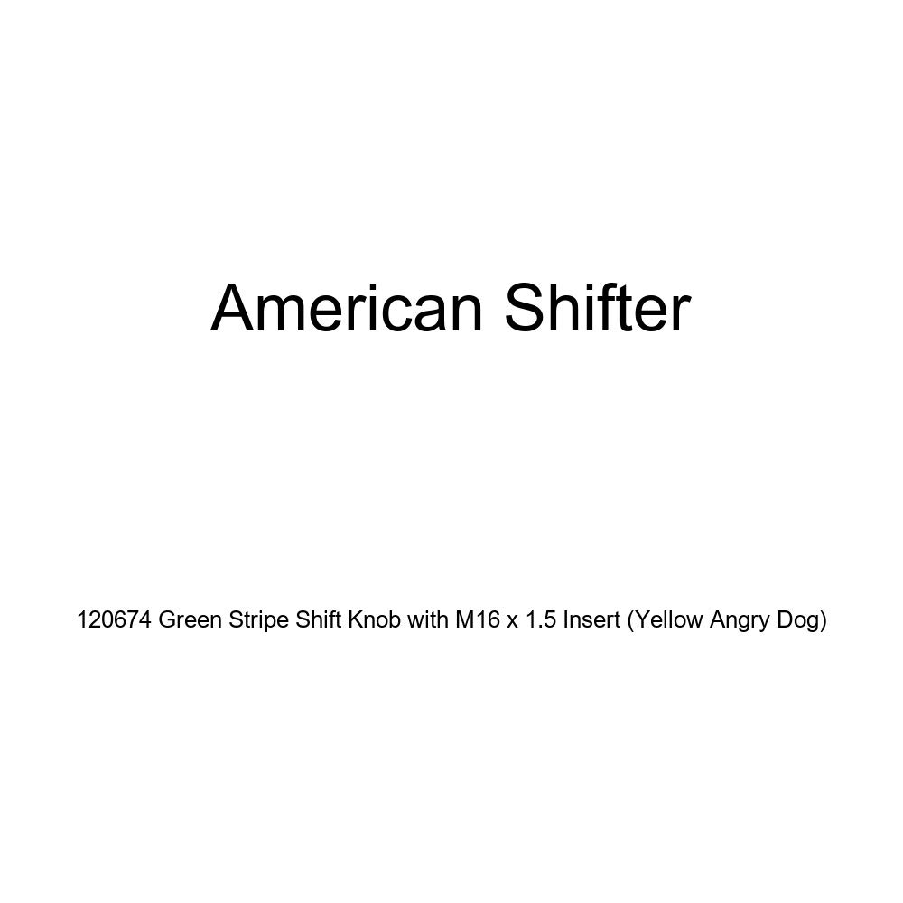 Yellow Angry Dog American Shifter 120674 Green Stripe Shift Knob with M16 x 1.5 Insert