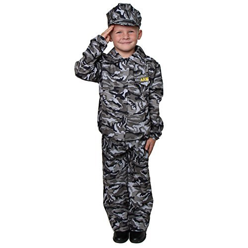 [Green Camouflage Army Soldier Costume Size 2/4] (Child Army Soldier Costumes)