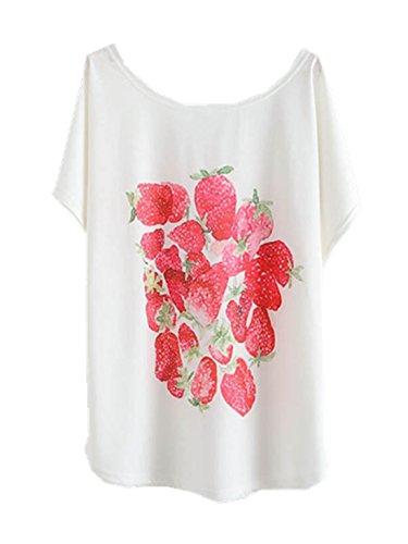 Yichun Femmes Filles Été Mince T-shirt Manches Batwing Imprimé En Tête De Fraise Casual Wear 3 #