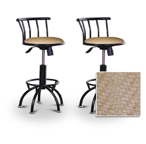2 24 29 soft faux leather cross hatch black adjustable specialty custom barstools set home Home bar furniture amazon