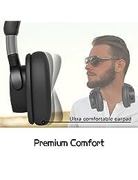 Acekool   Auriculares inalámbricos de 50 horas con auriculares de diadema inalámbricos, estéreo HiFi, Bluetooth, sonido transparente, carga rápida, auriculares de memoria suave, micrófono y modo de cable para PC tabletas teléfono móvil TV