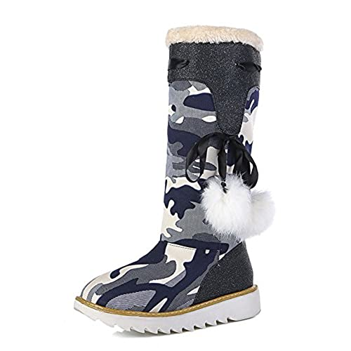 Women's Warm Fashion Pompoms Round Toe Platform Slip On Flat Mid Calf Winter Snow Boots