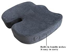 TravelMate Coccyx Orthopedic Gel-enhanced (Medium-Firm) Comfort Foam Seat Cushion (Gray)
