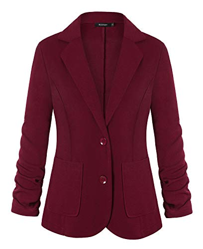 ROOSEY Women's Business Casual Notched Lapel Pocket Work Office Blazer Jacket Suit (Wine Red, M)