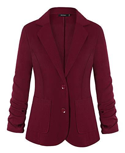 Button Lapel Pocket - ROOSEY Women's Notched Lapel Pocket Button Work Office Blazer Jacket Suit (Wine Red, S)