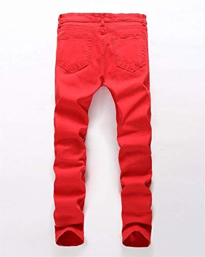Retro Denim Chiusura Casual Pantaloni Stretch Strappato Con Fashion Classiche Jeans Di Da Slim Ragazzi Laisla Rot Uomo Destrutturati nwU7xEx